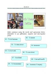English worksheet: Business Tense Drills