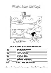 English Worksheet: What a beautiful Day