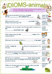 English Worksheet: IDIOMS-ANIMALS