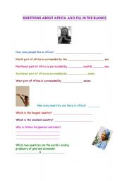 English Worksheets: Africa-questions and fill in the blanks