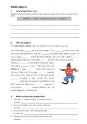 English Worksheet: relative clauses: who, which and whose
