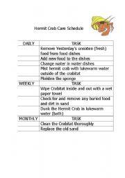 english worksheets hermit crab care schedule. Black Bedroom Furniture Sets. Home Design Ideas