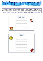 English Worksheet: Junk food, fruit or vegetables?
