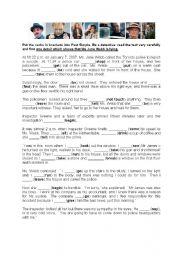 English Worksheet: Detective story - irregular verbs