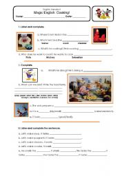 English Worksheets: Magic English - Cooking - Food Handout