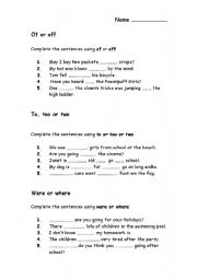 english worksheets worksheet for practising of or off to too and two and where or were. Black Bedroom Furniture Sets. Home Design Ideas