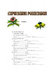 English Worksheet: Expressing Possession
