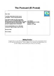 English Worksheets: A post card exercise