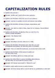 English Worksheet: capitalization rules