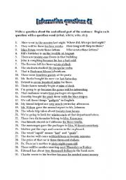 English Worksheet: Making information questions