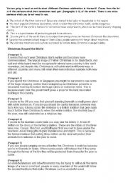 English Worksheet: Christmas Reading - multiple matching
