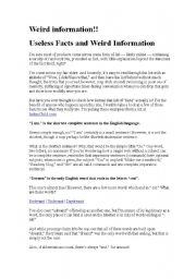 English Worksheets: Weird information 2