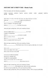 English Worksheets: Song She�s not just a pretty face - (occupations)
