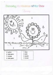 English Worksheets: Colouring Spring