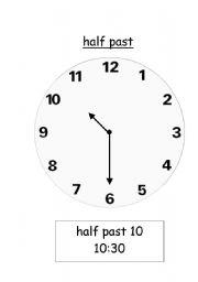 English worksheets: Telling time- half past