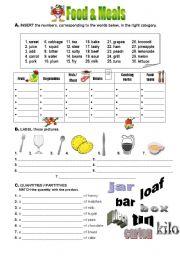 Food worksheets