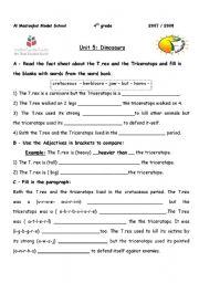 English Worksheets: Comparing dinosaur