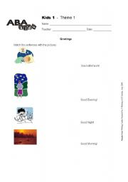 English Worksheets: Greetings - Match the word with the picture