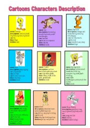 English Worksheet: cartoons Characters Description Cards
