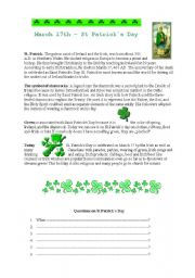 English Worksheet: St Patrick´s Day History