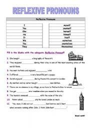 Reflexive Pronouns Esl Worksheet By Paulateacher