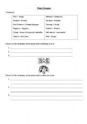 Worksheets Peer Pressure Worksheets english worksheets peer pressure vocabulary worksheet vocabulary