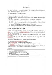 English Worksheets: The Cell