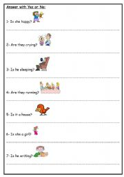English Worksheets: Answer with Yes or No: