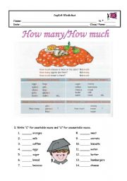 English Worksheet: How many/how much