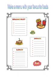make a menu with your favourite food esl worksheet by cinni