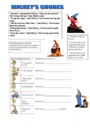 English Worksheets: Mickey�s chores