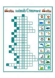 English Worksheet: WILD ANIMALS CROSSWORD