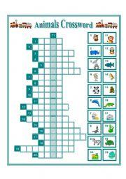 English Worksheets: WILD ANIMALS CROSSWORD