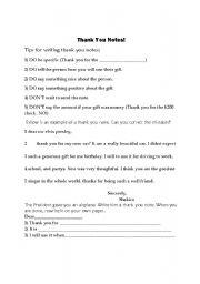 English Worksheets: Writing Thank You Notes