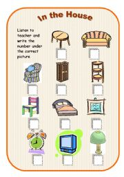 English Worksheets: In the House - listening comprehension