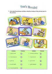 English worksheet: Tom´s morning