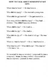 English Worksheets: Talk about someone�s past life
