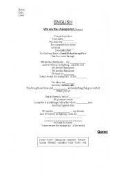 English Worksheet: We are the Champions (Queen) Gap-filling