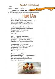 English Worksheets: Here I am by Bryan Adams