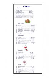 English Worksheet: At the Restaurant-Menu