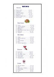 English Worksheet: At the Restaurant-Menu