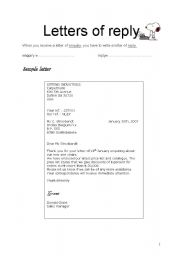 English Worksheets: lbusiness letter - letter of reply
