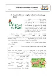 English Worksheet: Story - Peter and the Wolf