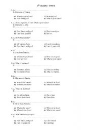English Worksheet: 6th Grade 1st unit revision SBS style multiple choice questions