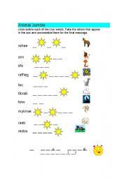 English Worksheets: Animals Jumble