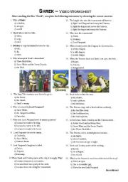 Shrek - video worksheet