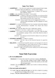 English Worksheets: new words expression for esl students