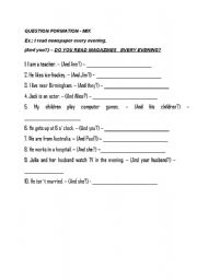 English Worksheets: QUESTIONS - present wimple mix