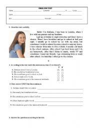 English Worksheet: Test on Daily Routine