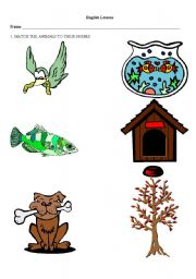 Animal homes worksheets